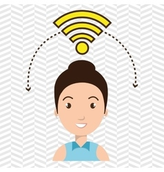 woman wifi web internet connected vector image