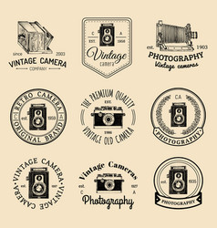 Set of old cameras logos vintage photo vector