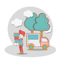 delivery man with truck and packages in the hands vector image
