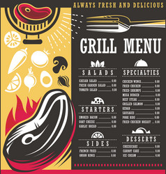 Grill menu print template design vector