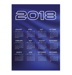 2018 simple business wall calendar blue color vector image