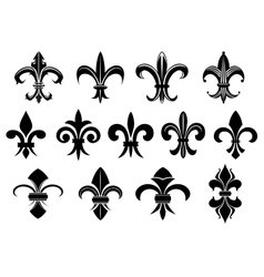 Black royal fleur de lis flowers set vector
