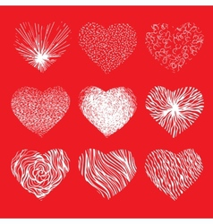 Set of scribbled hand drawn hearts for vector