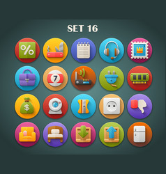 Round bright icons with long shadow set 16 vector