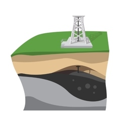 Oil extraction cartoon icon vector
