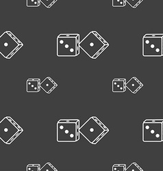 Dices icon sign seamless pattern on a gray vector