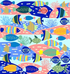 Cartoon wallpaper with fish and marine life vector