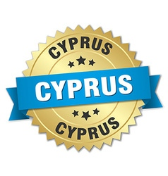 Cyprus round golden badge with blue ribbon vector