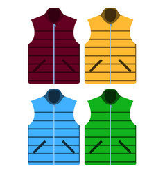 Black color autumn fleece vest and jacket set vector