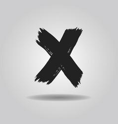 Black ink abstract brushed cross x mark icon vector