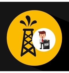 Businessman oil industry pumping tower vector