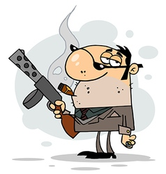 Cartoon character mobster carries weaponbackgroun vector