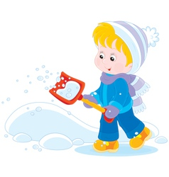 Child with a snow shovel vector