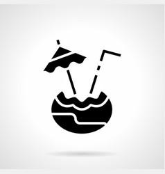 Coconut drink glyph style icon vector