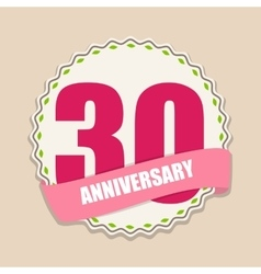 Cute template 30 years anniversary sign vector