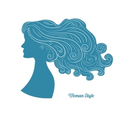 Female profile with long curly hair vector image vector image