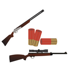 flat set of weapons guns and rifles isolated on vector image