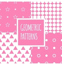 geometric pink seamless patterns set Baby vector image vector image