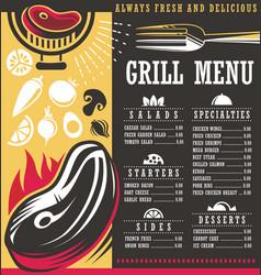 Grill menu print template design vector