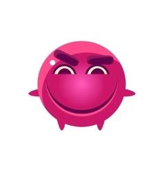 Mischievous round character emoji vector