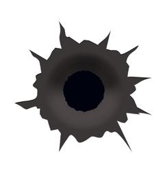 Modern bullet hole on white background vector