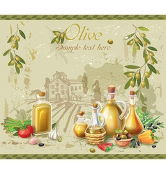 Olive oil and olives against country landscape vector