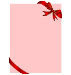 pink card with red ribbon vector image vector image