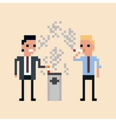 Pixel art of office workers smoking a vector