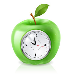 Realistic green apple clock on white vector