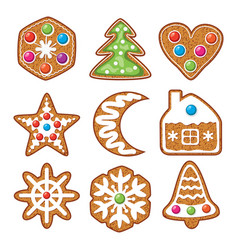 set of colorful xmas gingerbread cookies vector image vector image