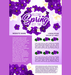 Spring holidays floral wreath greeting poster vector