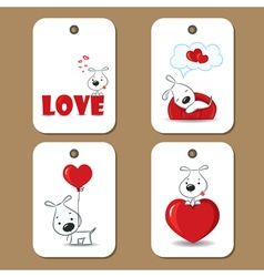 Tags with cute dogs in love vector