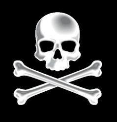 White shaded skull and crossbones 3d icon vector