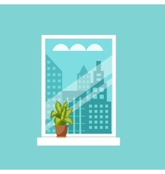 Window with house plants and flowers vector