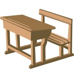 Wooden school desk vector