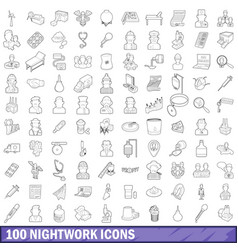 100 nightwork icons set outline style vector image vector image
