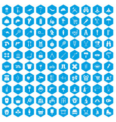 100 tackle icons set blue vector