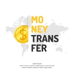 Modern money transfer poster and logo pointer vector