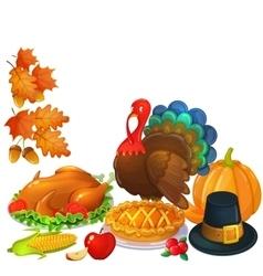 Still life thanksgiving icons vector