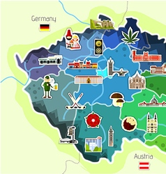 Map of czech republic with landmarks vector