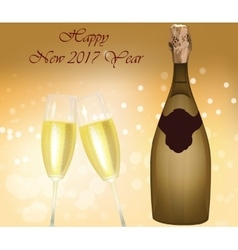 New year eve sparkling champagne bottle vector