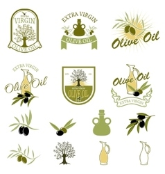 Set of the olive oil labels and badges isolated on vector