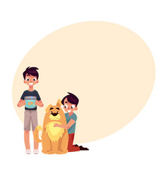 Two boys kids - hugging fluffy dog and holding vector