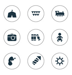 set of simple kid icons vector image