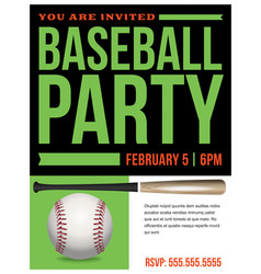 baseball party flyer invitation vector image
