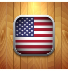 Rounded square usa flag icon on wood texture vector