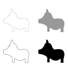 pig the black and grey color set icon vector image