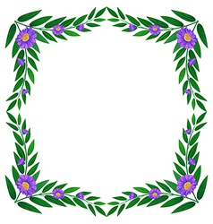 A border made of leaves and violet flowers vector