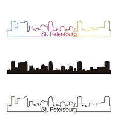 St Petersburg skyline linear style with rainbow vector image