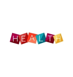 Word concept on color geometric shapes - health vector